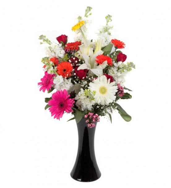 Siyah Vazoda Renkli Çiçek Aranjmanı