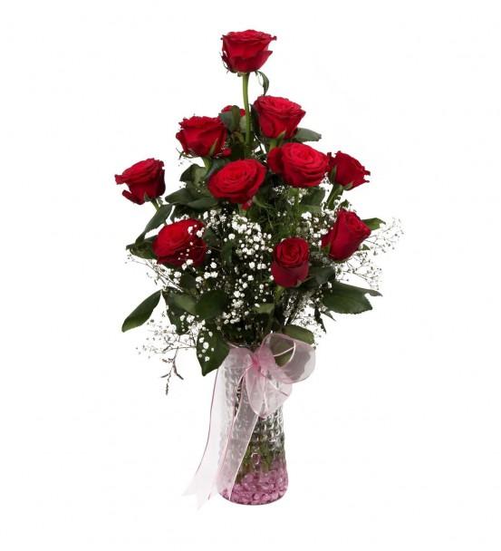 özel vazosunda 11 kırmızı gül